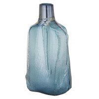 "16"" Iridescent Blue Textured Glass Vase"