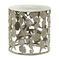"18"" Round Silver Aluminum Sea Life Stool"