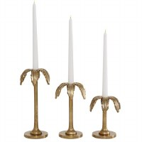 Set of 3 Gold Palm Tree Taper Candle Holders