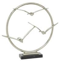 """18"""" Silver Seagull Trio Ring Sculpture"""