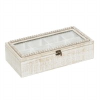 "8"" x 16"" Whitewash Beaded Glass Top Compartment Box"