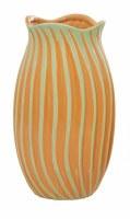 "12"" Orange and Green Wavy Ribbed Ceramic Vase"