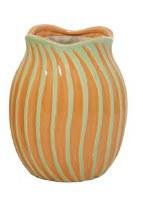"9"" Orange and Green Wavy Ribbed Ceramic Vase"