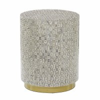 "18"" Round Gray Mother of Pearl Mosaic Stool With Gold Base"