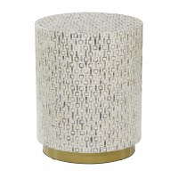 "18"" Round Cream Mother of Pearl Mosaic Stool With Gold Base"