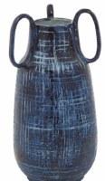 """13"""" Dark Blue Ceramic Three Handle Vase"""