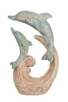 """10"""" Double Dolphin on Wave Sculpture"""