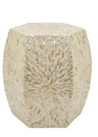 "20"" Hexagon Cream Capiz Shell Side Table"
