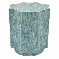 "18"" Octagon Blue Mother of Pearl Side Table"