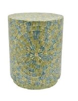 "22"" Round Green and Blue Capiz Shell Side Table"