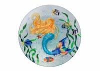 """12"""" Round Mermaid Garden Glass Plate"""