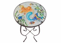"12"" Round Mermaid Garden Glass Garden Table"