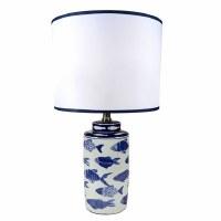 "20"" Blue School of Fish Ceramic Table Lamp"