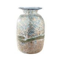 "14"" Blue and Green Faux Verdigris Wave Glass Vase"