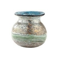 """8"""" Blue and Green Faux Verdigris Wave Glass Ball Vase"""