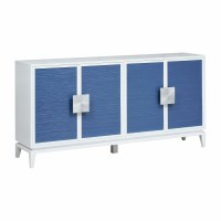 """72"""" White Credenza With Four Blue Rattan Doors and Silver Handles"""