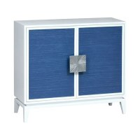 """40"""" White Cabinet With Two Blue Rattan Doors and Silver Handles"""