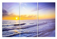 """24"""" x 37"""" Beach Sunset Canvas Triptych Wall Art"""