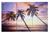 "24"" x 37"" Palm Sunset Canvas Triptych Wall Art"