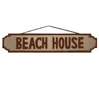 "39"" Beach House Painted Wood Wall Plaque"