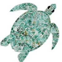 "14"" Green Glass Mosaic Sea Turtle Wall Plaque"