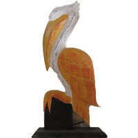 "17"" Pelican Painted Wood Wall Plaque"