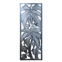 "31"" x 12"" Blue Framed Palm Tree Wall Plaque"