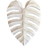 """15"""" White Carved Wood Monstera Leaf Wall Plaque"""