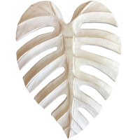 """12"""" White Carved Wood Monstera Leaf Wall Plaque"""