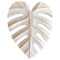 """10"""" White Carved Wood Monstera Leaf Wall Plaque"""