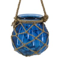 "7"" Blue Glass With Rope Hanging Lantern"