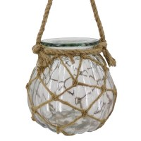 "7"" Clear Glass With Rope Hanging Lantern"