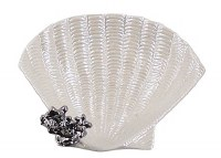 """6"""" White Porcelain Shell Dish With Silver Coral"""