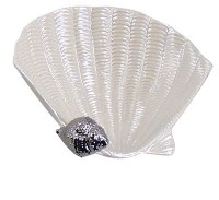 """6"""" White Porcelain Shell Dish With Silver Scallop Shell"""