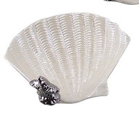 """6"""" White Porcelain Shell Dish With Silver Starfish"""