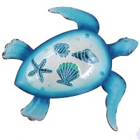 """14"""" Blue Turtle and Shells Glass Inlay Metal Wall Plaque"""