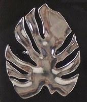 "6"" Silver Monstera Leaf Metal Napkin Ring"