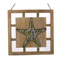 "12"" x 12"" Iron and Wood Starfish Wall Art"