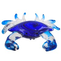 """8"""" Clear and Blue Glass Crab Figurine"""