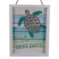 "12"" x 9"" Watercolor Turtle Beach Days Wood Wall Art"