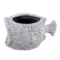 """6"""" Antique White Fish Ceramic Planter"""