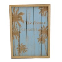 """13"""" x 10"""" Blue and Tan Welcome to Paradise Wood Slat Wall Plaque"""