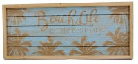 "9"" x 20"" Blue and Tan Beach Life Wood Slat Wall Plaque"