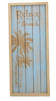 """20"""" x 9"""" Blue and Tan Relax You're at the Beach Wood Slat Wall Plaque"""