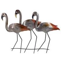 """22"""" Silver Flamingo Trio Metal Wall Plaque"""