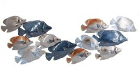 """40"""" Blue and Gray Tropical Fish School Metal Wall Plaque"""