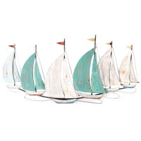 """47"""" Antique White and Teal Sailboats Metal Wall Plaque"""
