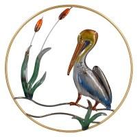 """24"""" Round Pelican Sea Life Metal Wall Plaque"""