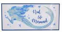 """10"""" x 22"""" White and Blue Real Life Mermaid Metal Wall Plaque"""