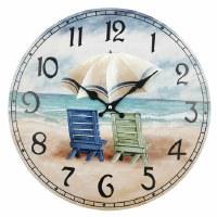 """16"""" Round Adirondack Beach Chairs Wood Wall Clock"""